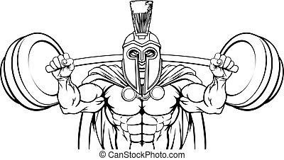 spartan, gewicht, gebouw, mascotte, het tilen, trojaan,...