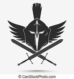 spartan, guerrier, casque