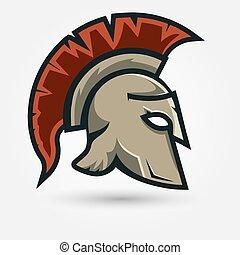 spartan, guerriero, casco