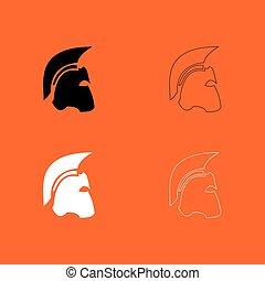 Spartan helmet black and white set icon .