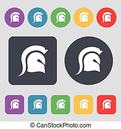 Spartan Helmet icon sign. A set of 12 colored buttons. Flat design. Vector