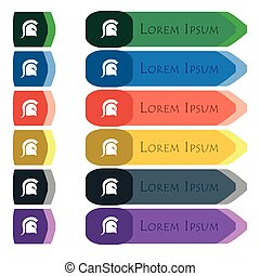 Spartan Helmet icon sign. Set of colorful, bright long buttons with additional small modules. Flat design