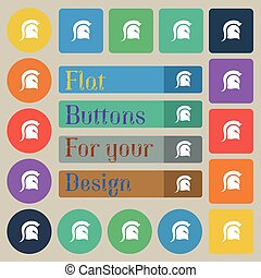 Spartan Helmet icon sign. Set of twenty colored flat, round, square and rectangular buttons. Vector