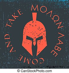 Spartan helmet print - T-shirt print design element. Spartan...