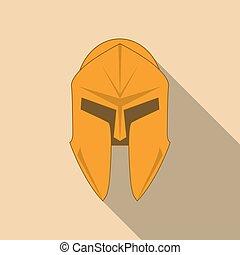 Spartan Helmet silhouette, Greek warrior. Corinthian helmet with long shadow. Vector illustration eps10