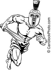 Spartan helmet warrior - An illustration of a warrior or...