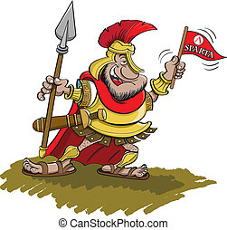 Spartan holding a Spear - Vector illustration of a Spartan ...