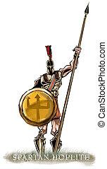 Hoplite - Spartan Hoplite holding his spear