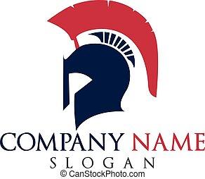 Spartan logo. Helmet of warrior logo vector.