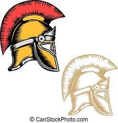 spartan, marca, vector, fondo., elementos, diseño, cascos, etiqueta, aislado, emblema, blanco, logotipo, conjunto, mark., ilustración, señal