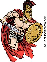 Spartan mascot - An illustration of a warrior character or...