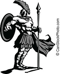 Spartan Mascot Body with Spear and Shield Vector ...