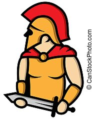 Spartan mascot logo design vector with modern illustration concept style for badge, emblem and tshirt printing.