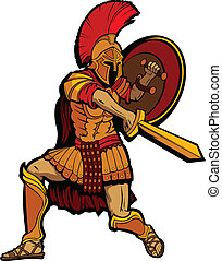 Spartan Mascot Standing with Sword and Shield Vector...