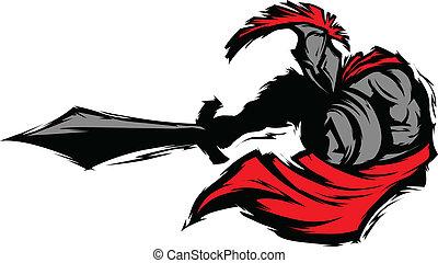spartan, mascotte, silhouette, trojaan, st