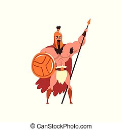 Spartan muscular warrior in golden armor and red cape, ancient soldier character with shield and spear vector Illustration on a white background