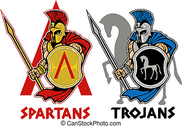 spartan or trojan - spartan and trojan with shield and spear