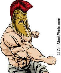Spartan Punching - A tough muscular Spartan mascot character...