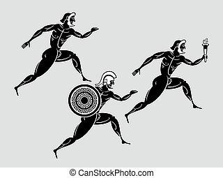 Spartan runners - Ancient greek Sparta runners following the...