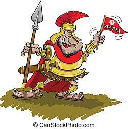 spartan, segurando, lança