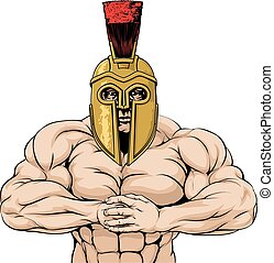 spartan, silny, albo, trojański, maskotka