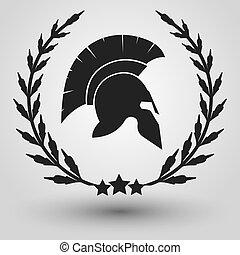 spartan, silueta, casco