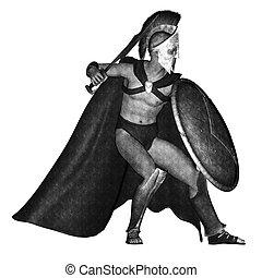 spartan sketch of a warrior in a battle stance