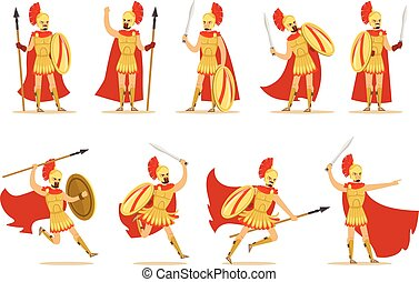 Spartan Soldier In Golden Armor And Red Cape Set Of Vector...