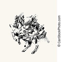 Spartan Spear Defensive Attack - Horse knight Vector illustration in silhouette.