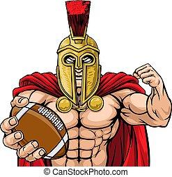 spartan, sport, football, mascotte, americano, trojan