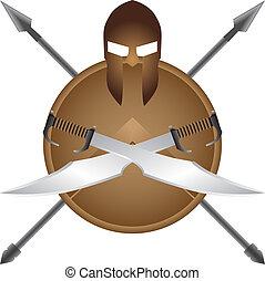 Spartan symbol sword spear helmet