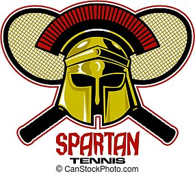 spartan tennis team design with mascot helmet and crossed racquets for school, college or league