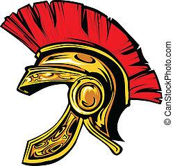 spartan, trojan, casco, mascota, vector