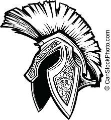 spartan, trojan, hjälm, maskot, vektor