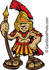 Spartan Trojan Mascot Vector Cartoo - Cartoon Graphic of a...