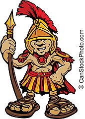 Cartoon Graphic of a Greek Spartan or Trojan Mascot holding a spear