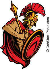 Spartan Trojan Mascot with Spear an - Greek Spartan or...