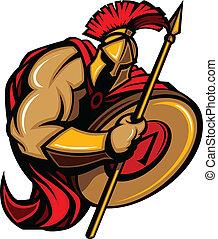 spartan, trojan, mascota, caricatura, con