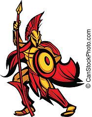 spartan, trojan, spyd, mascot