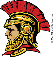 Spartan Trojan with Helmet Mascot - Vector Graphic of a...