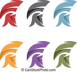 spartan, vector, simple, casco, conjunto, ilustración