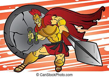 Spartan Warrior - An editable vector cartoon of a fierce...