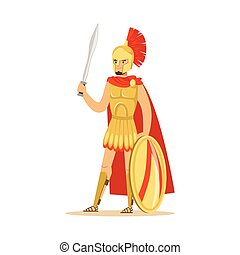 Spartan warrior character in armor and red cape with shield and sword, Greek soldier vector Illustration