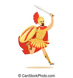 Spartan warrior character in armor and red cape fighting with shield and sword, Greek soldier vector Illustration