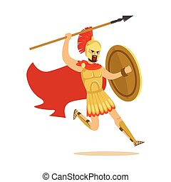 Spartan warrior character in armor and red cape fighting with spear, Greek soldier vector Illustration