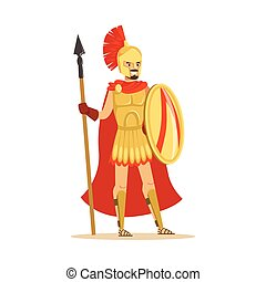 Spartan warrior character in armor and red cape with shield and spear, epic Greek soldier vector Illustration