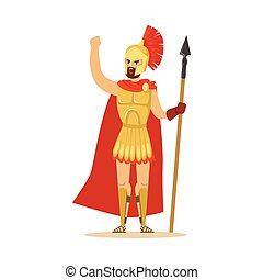 Spartan warrior character in armor and red cape with spear raised up clenched fist, Greek soldier vector Illustration