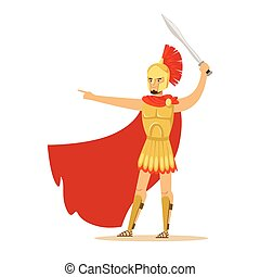 Spartan warrior character in golden armor and red cape gesturing with sword, Greek soldier vector Illustration
