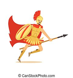 Spartan warrior character in golden armor and red cape running with spear, Greek soldier vector Illustration
