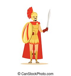Spartan warrior character in golden armor and red cape with shield and sword, Greek soldier vector Illustration